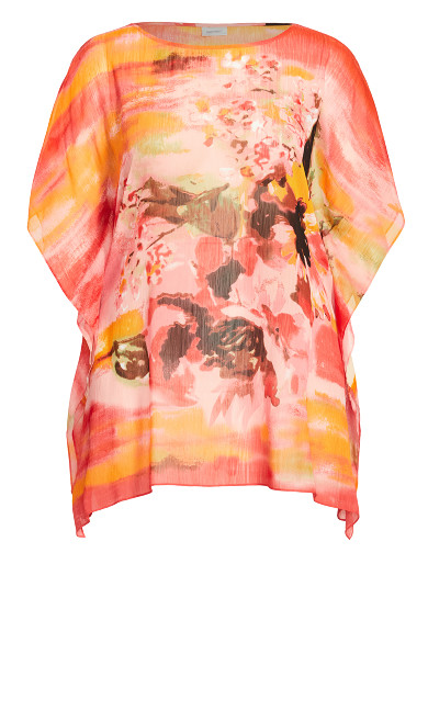 Watercolor Poncho - tangerine