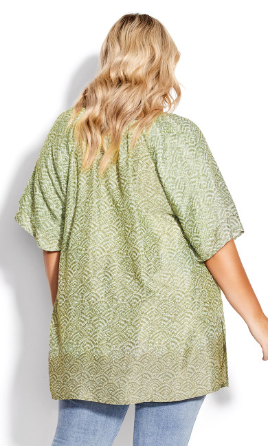 Medallion Peasant Top - green