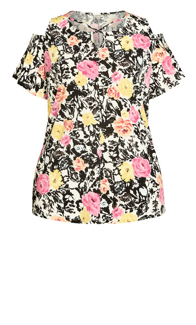 Cold Shoulder Print Top - ivory