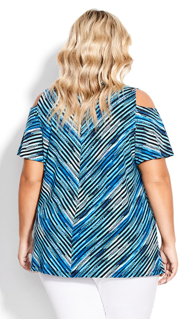 Cold Shoulder Print Top - blue chevron