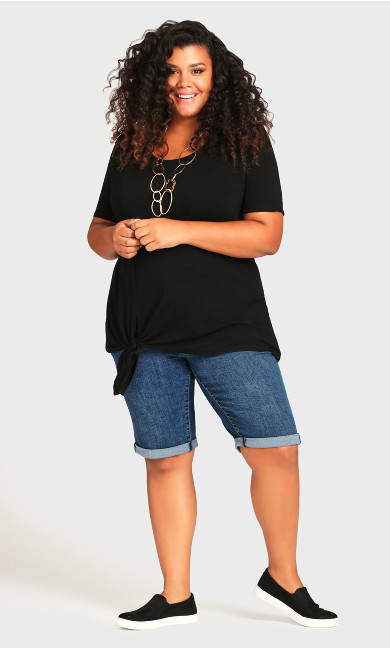 Plus Size Roll Cuff Short - mid wash