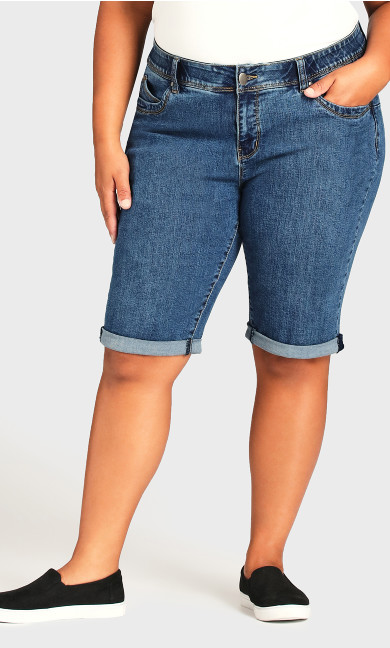 Roll Cuff Short - mid wash