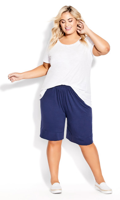 Knit Hem Short - navy