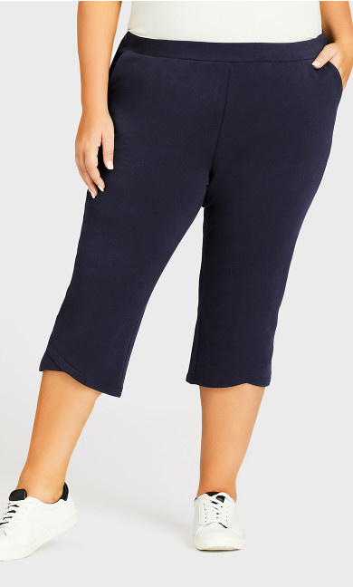 Knit Cross Hem Crop Pant - navy