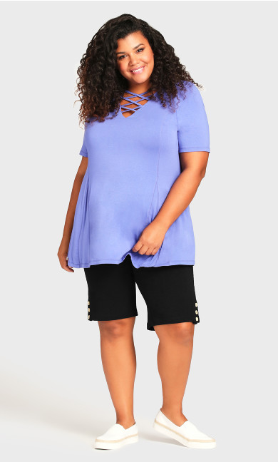 Plus Size Knit Pocket Short - black