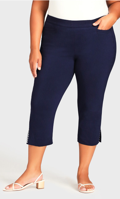 Super Stretch Split Hem Capri - navy
