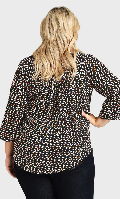 Pleat Zip Print Blouse - black floral