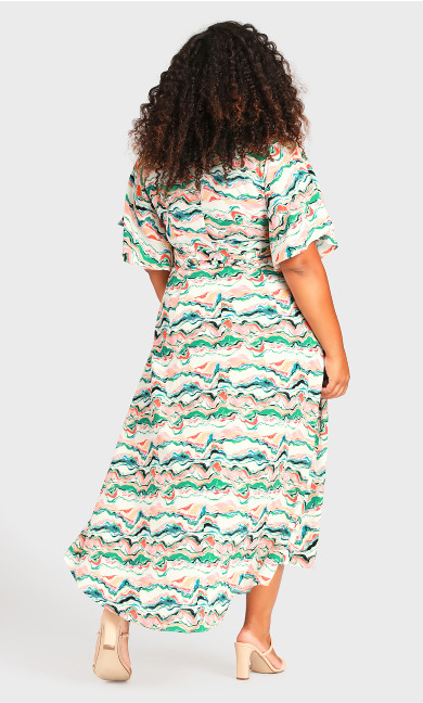 Viv Wrap Print Maxi Dress - green