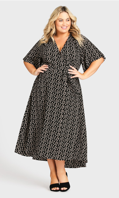 Viv Wrap Print Maxi Dress -  black daisy