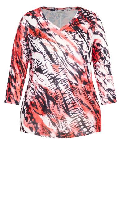 Tie Dye Print Top - sangria