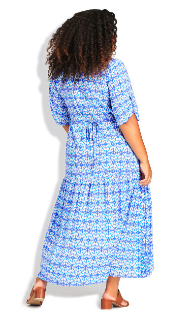 Val Print Dress - blue diamond