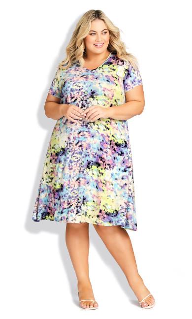 Cross Back Print Dress - purple multi