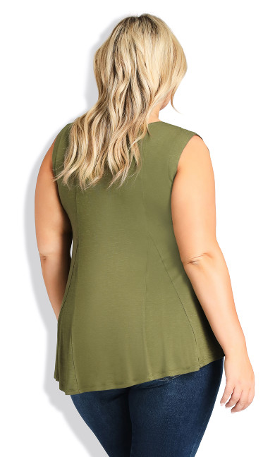 Fit N Flare Tank - olive
