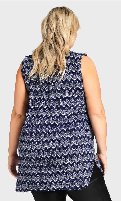 Smock Henley Print Tunic - blue