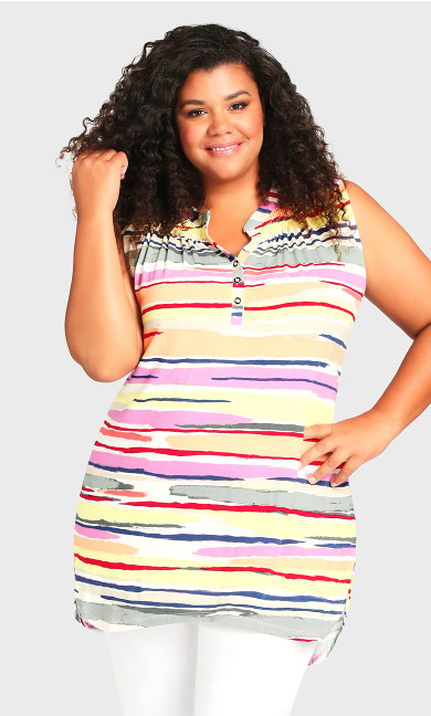 Smock Henley Print Tunic - multi stripe