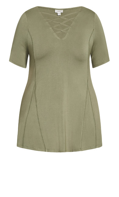 Criss Cross Tunic - olive