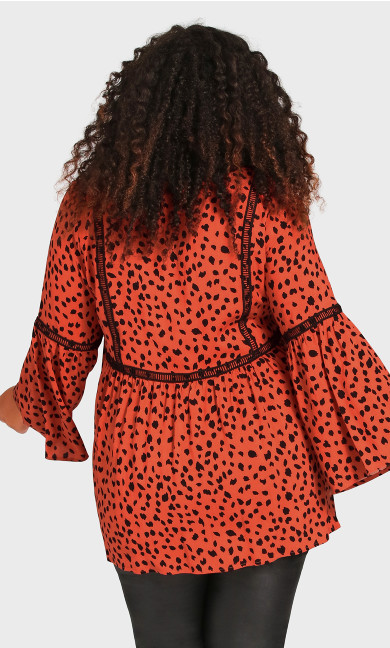 Boho Bell Sleeve Top - tangerine spot