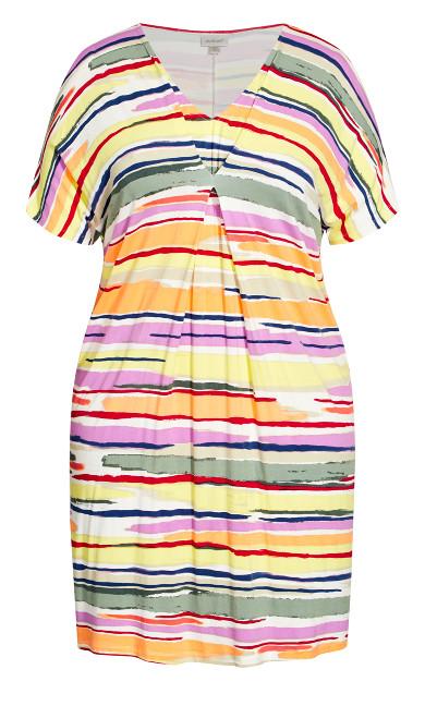 Joanna Pleat Dress - multi stripe