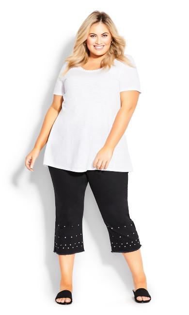 Plus Size Jada Stud Crop Jean - black