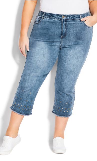Jada Stud Crop Jean - mid wash