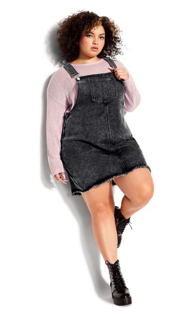 Denim Pinafore Dress - black
