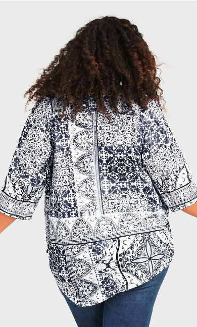 Point Front Top - indigo print