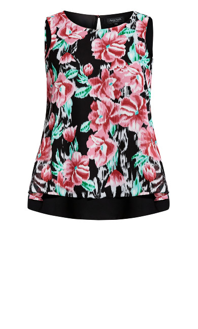 Grace Double Layer Print Top - pink floral