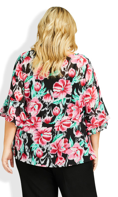 Alex Double Flutter Top - black floral