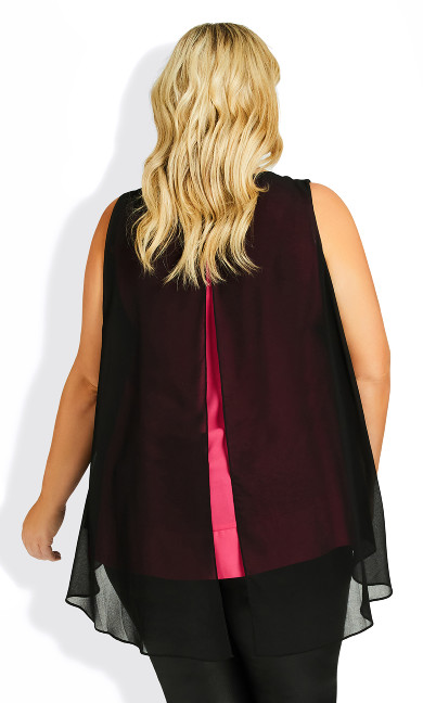 Grace Double Layer Top - black