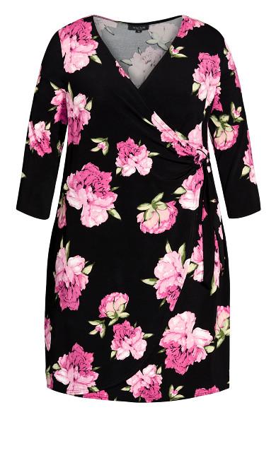 Darna Wrap Print Dress - black floral