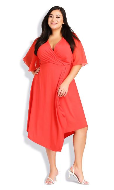 Plus Size Leona Wrap Dress - coral