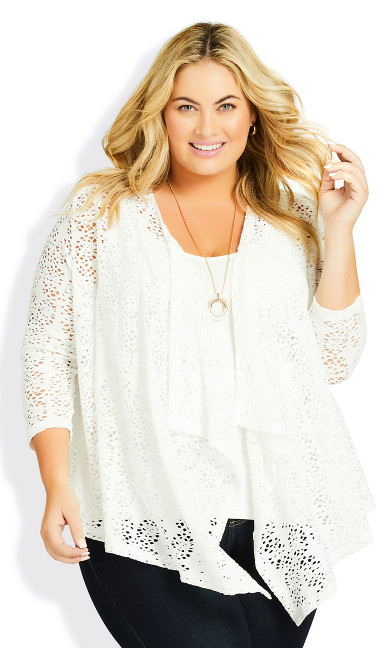 Plus Size Liz Lace Cardigan - white