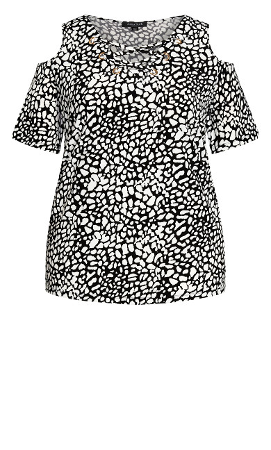 Cara Cold Shoulder Print Top - mono spot
