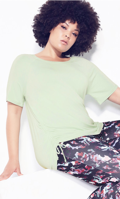 Plus Size Ruched Side Top - lime