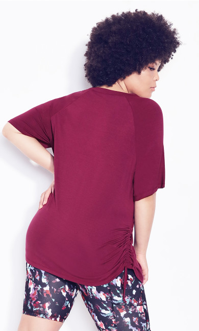 Ruched Side Top - plum