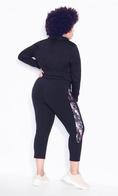Legging Side Print Crop - black brushstroke