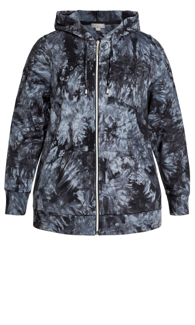Zip Print Jacket - black tie dye