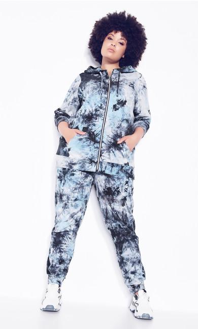 Plus Size Zip Print Jacket - blue tie dye