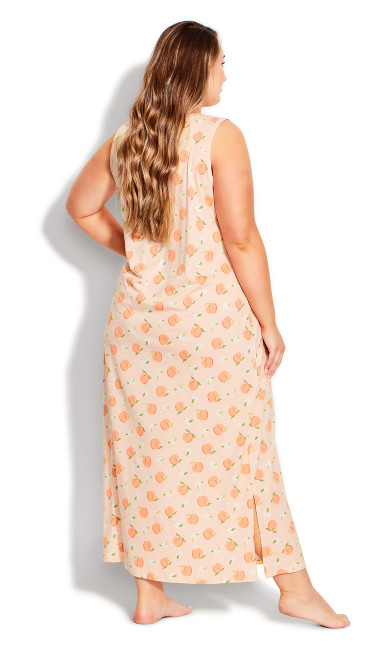 Side Split Print Maxi Sleep Dress - peach print