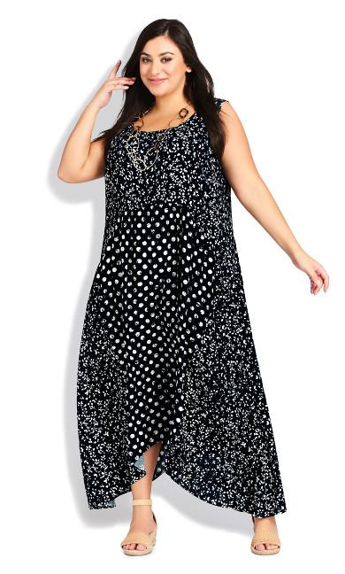 Plus Size Kylee Crush Dress - navy batik spot