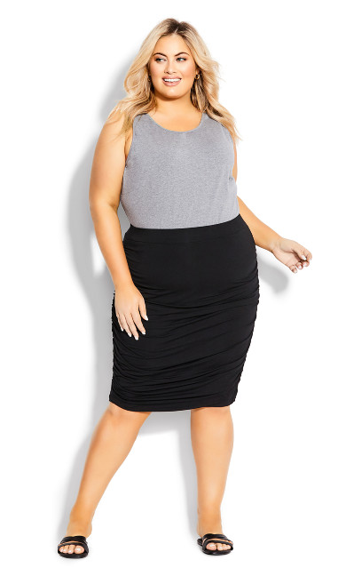Plus Size Ruched Skirt - black