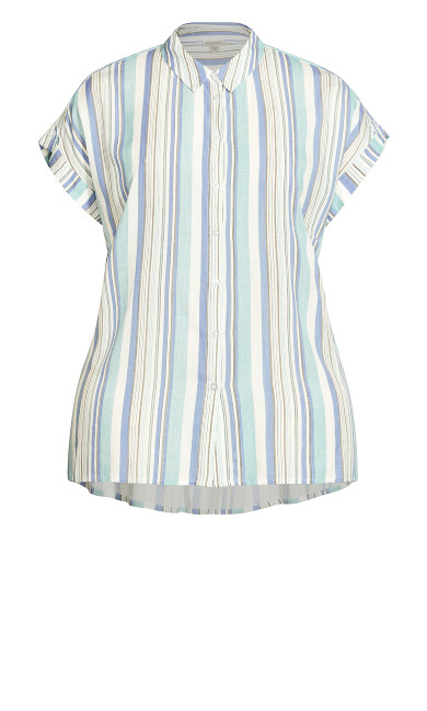 Bowling Shirt - teal stripe