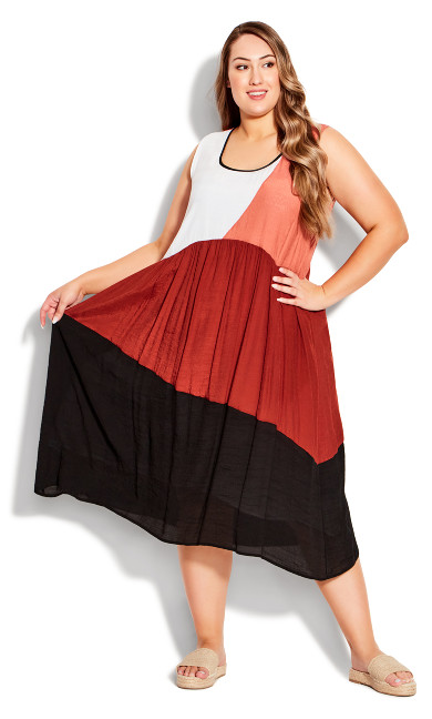 Cara Color Block Dress - spice