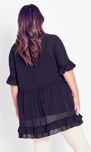 Rosa Textured Blouse Tunic - black