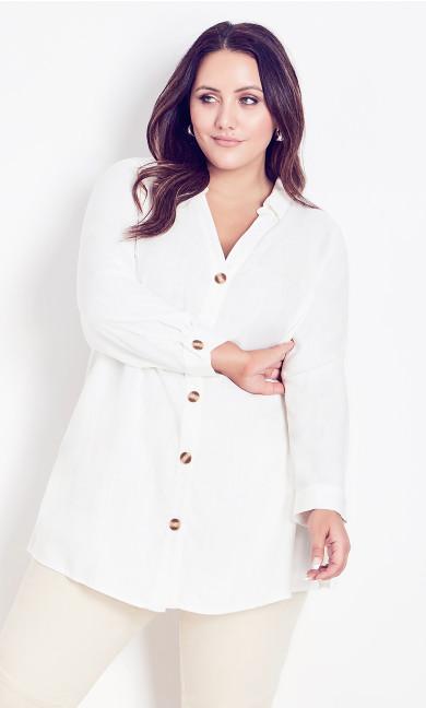 Plus Size Linen Mix Shirt white