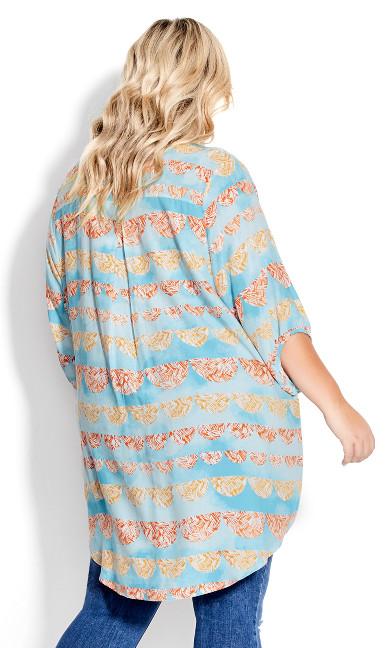 Renata Longline Print Shirt - blue