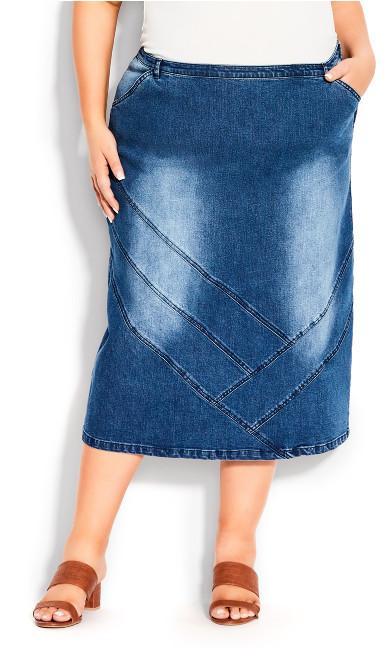 Plus Size Denim Midi Skirt - dark wash
