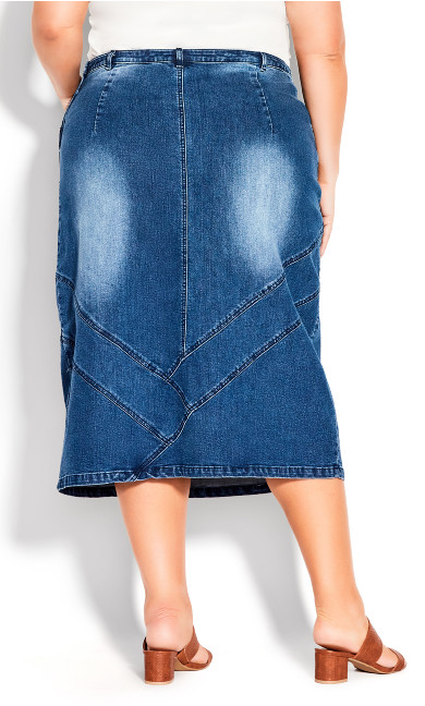 Denim Midi Skirt - dark wash