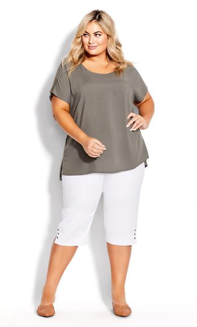 Plus Size Gracie Eyelet Capri - white