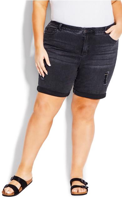 Plus Size Giana Ripped Short - washed black